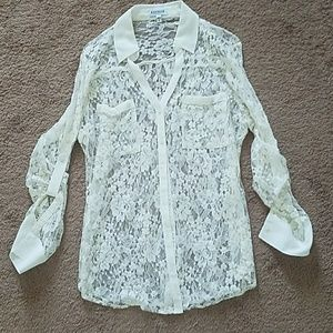 Ivory Lace button up blouse